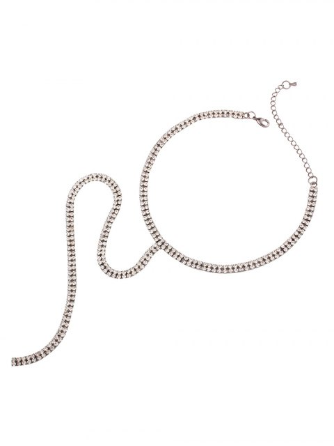 affordable Alloy Long Rhinestoned Necklace - SILVER  Mobile