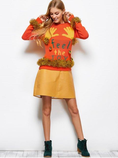 chic Christmas Bells Embellished Sweater - ORANGE RED M Mobile
