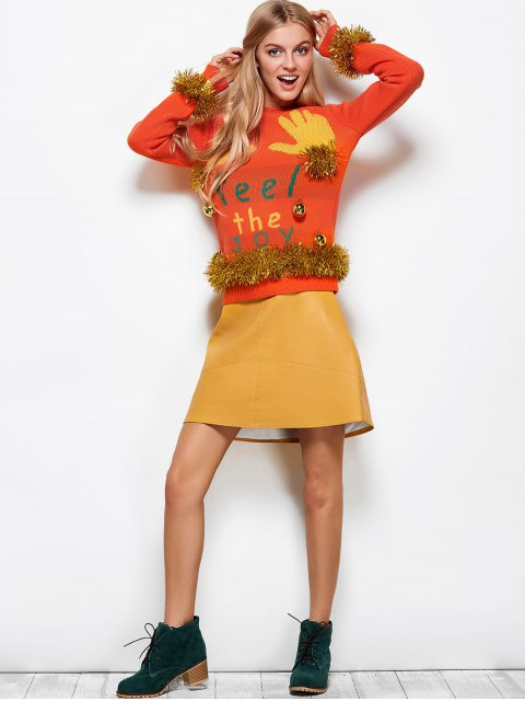trendy Christmas Bells Embellished Sweater - ORANGE RED XL Mobile