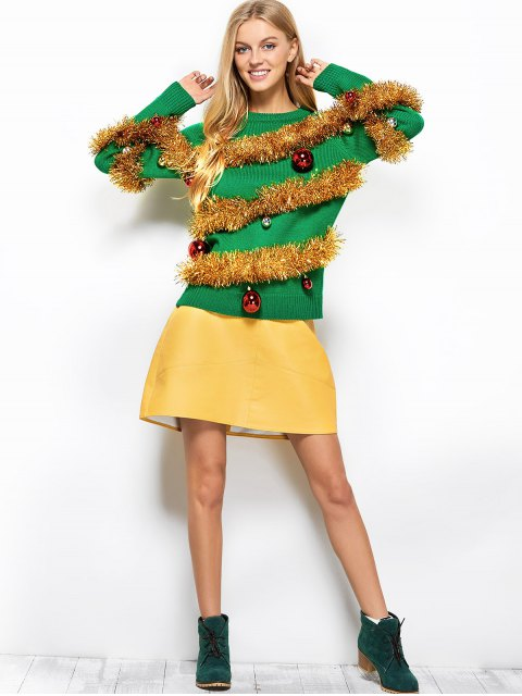 affordable Christmas Crew Neck Pullover Sweater - GREEN M Mobile