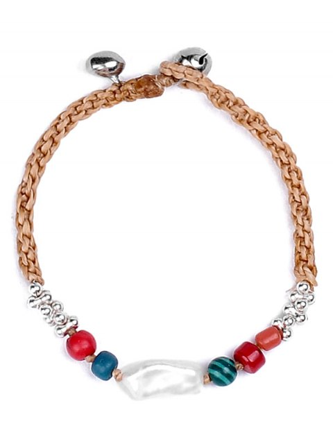 chic Natural Stone Braid Faux Leather Bracelet - WHITE  Mobile