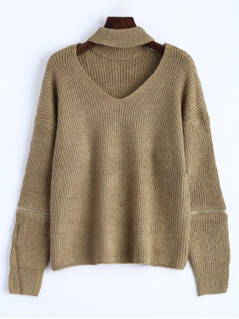 women's Choker Oversized Sweater - KHAKI ONE SIZE Mobile