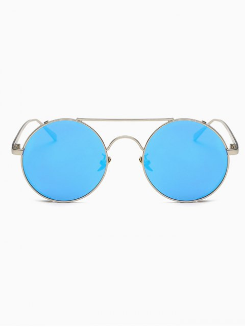fancy Crossbar Mirrored Round Sunglasses - BLUE  Mobile