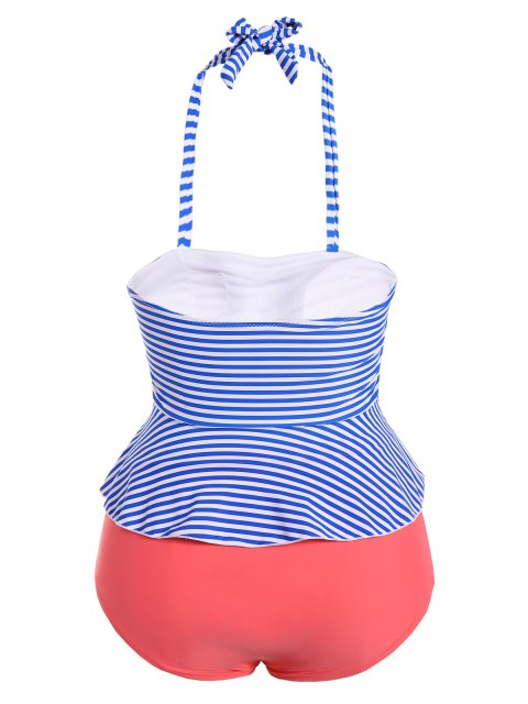 trendy Halter Stripes Plus Size Swimwear - STRIPE S Mobile