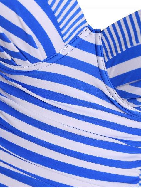 fashion Stripes Underwire Plus Size Swimwear One Piece - STRIPE 4XL Mobile