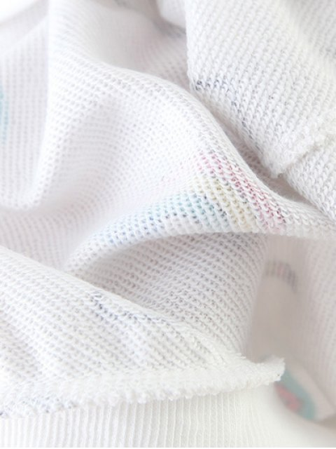 women Cartoon Patterned Pullover Sweatshirt - LIGHT GRAY M Mobile