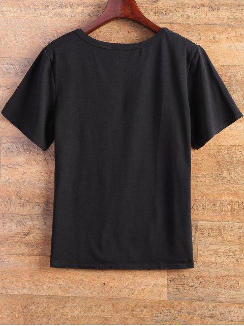 women's Fitting Letter T-Shirt - BLACK M Mobile