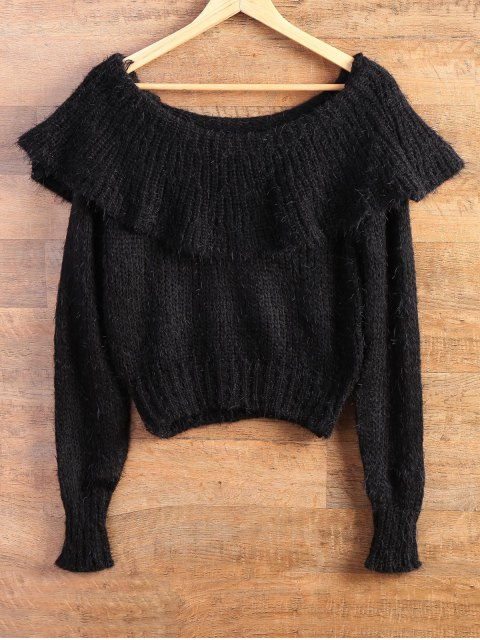 shop Flounced Fuzzy High-Low Sweater - BLACK ONE SIZE Mobile