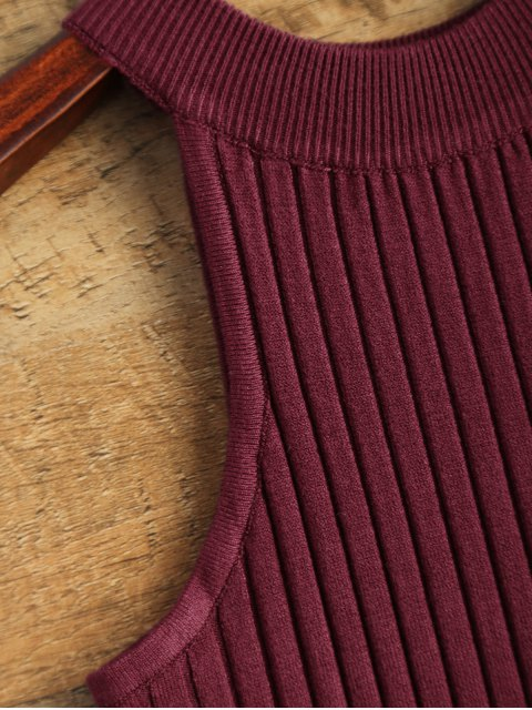 latest Vest Ribbed Sweater - WINE RED ONE SIZE Mobile