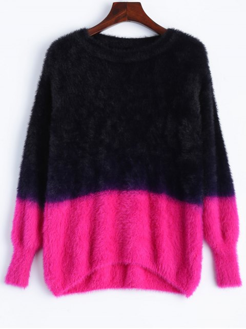 trendy Fuzzy High-Low Sweater - BLACK ONE SIZE Mobile
