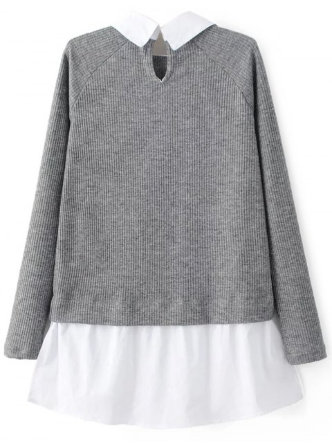buy Raglan Sleeves Shirt Neck Panel Jumper - GRAY M Mobile