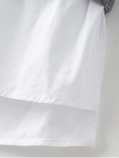 women Raglan Sleeves Shirt Neck Panel Jumper - BURGUNDY L Mobile