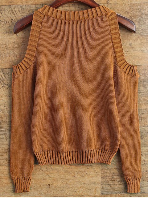 chic Loose-Fitting Cold Shoulder Sweater - COFFEE ONE SIZE Mobile