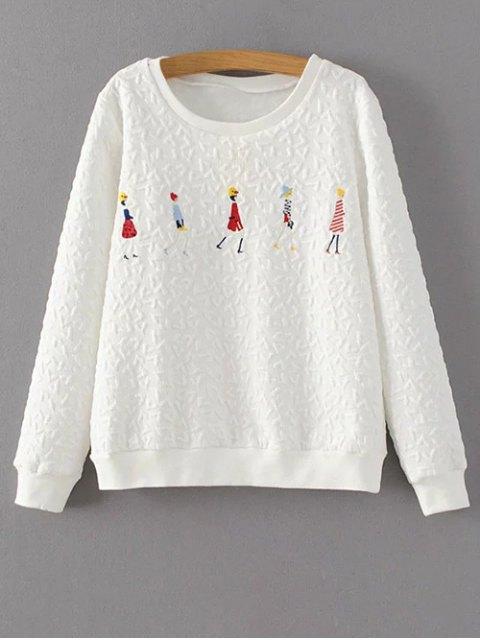 online Cartoon Figure Print Sweatshirt - WHITE S Mobile