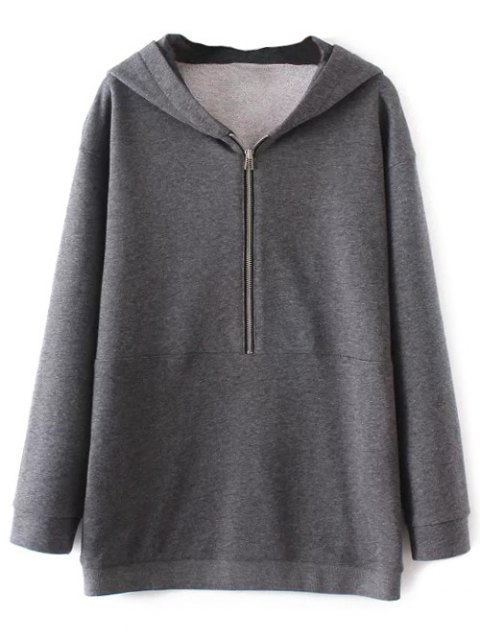 unique Half Zip Be Brave Hoodie - GRAY S Mobile