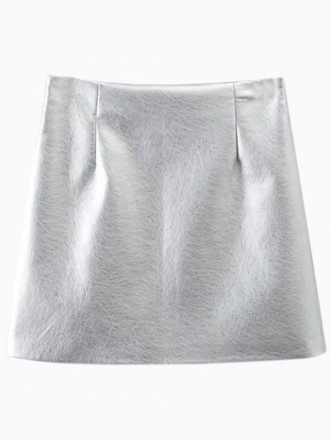 fancy Metal Colour PU Leather Mini Skirt - SILVER L Mobile