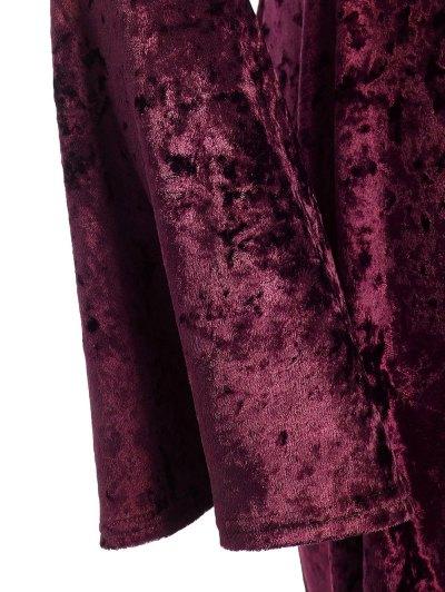 Bell Sleeve V Neck Fit and Flare Velvet Dress - BURGUNDY 3XL Mobile