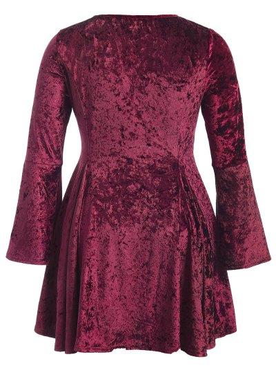 Bell Sleeve V Neck Fit and Flare Velvet Dress - BURGUNDY 2XL Mobile