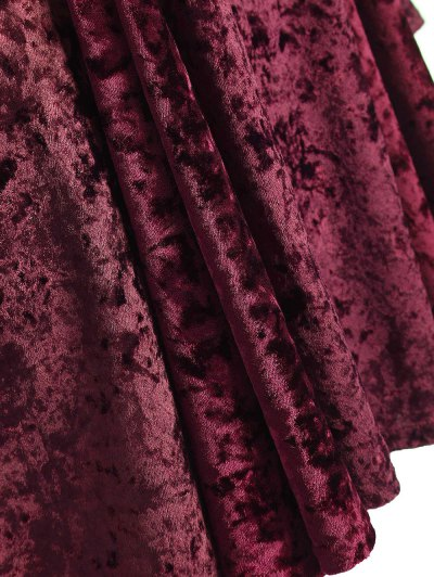 Bell Sleeve V Neck Fit and Flare Velvet Dress - BURGUNDY XL Mobile