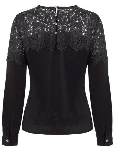Lace Spliced Cut Out Blouse - BLACK XL Mobile