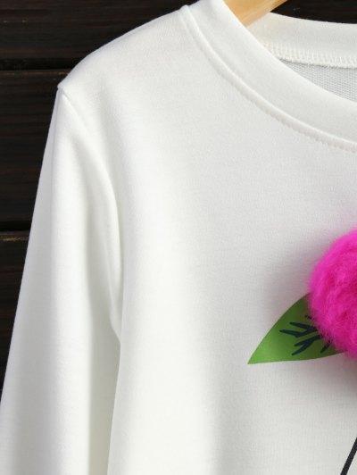 Pom Pom Sweatshirt - WHITE S Mobile