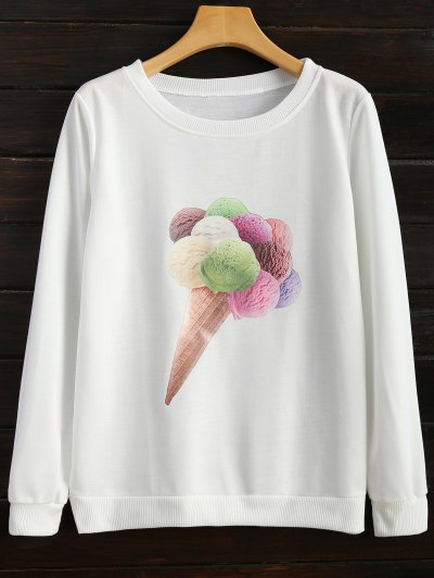 Icecream Cone Print Sweatshirt - WHITE M Mobile