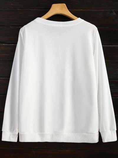 Icecream Cone Print Sweatshirt - WHITE S Mobile