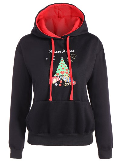 Merry Christmas Front Pocket Hoodie - BLACK L Mobile