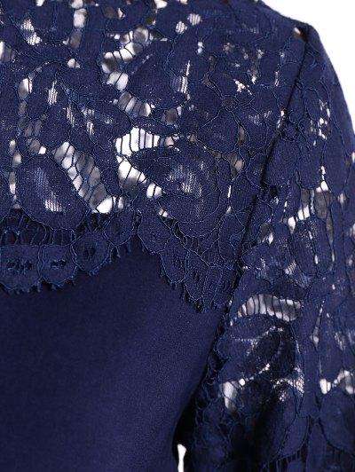 Lace Panel Tee - PURPLISH BLUE 2XL Mobile