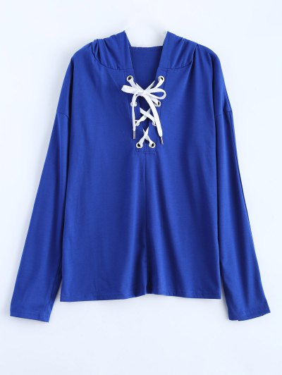 Long Sleeve Lace Up Hooded T Shirt - BLUE L Mobile