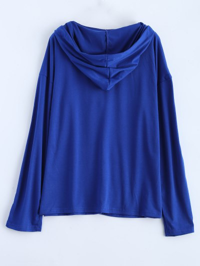 Long Sleeve Lace Up Hooded T Shirt - BLUE M Mobile