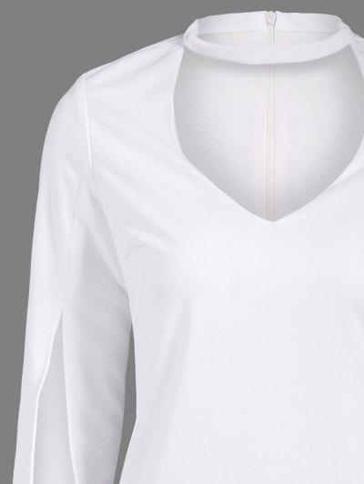 Side Furcal Cut Out Bodycon Choker Dress - WHITE 2XL Mobile