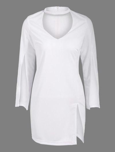 Side Furcal Cut Out Bodycon Choker Dress - WHITE L Mobile
