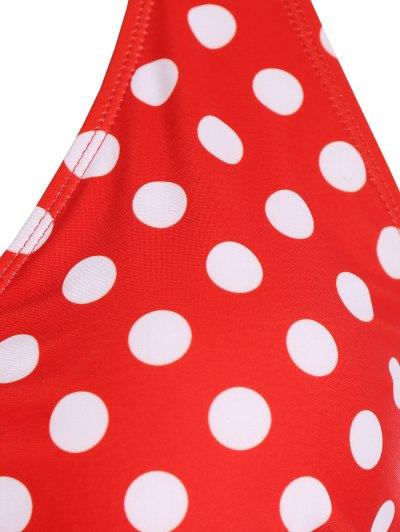 Polka Dot Halter Plus Size Bikini - RED 3XL Mobile