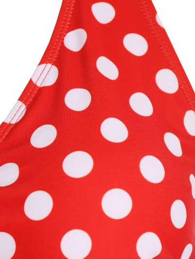 Polka Dot Halter Plus Size Bikini - RED 2XL Mobile