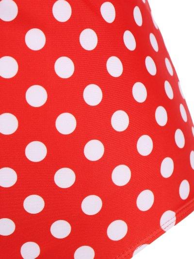 Polka Dot Halter Plus Size Bikini - RED XL Mobile