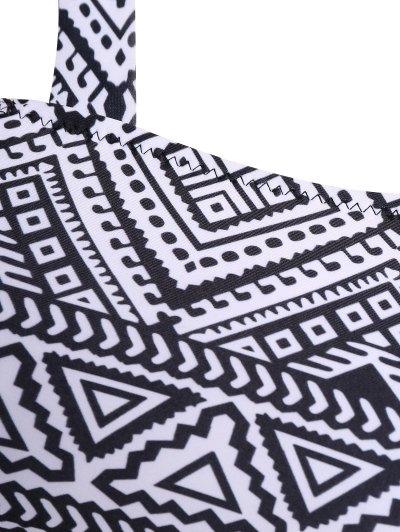 Tribal Print Straps Plus Size Bikini - BLACK 2XL Mobile