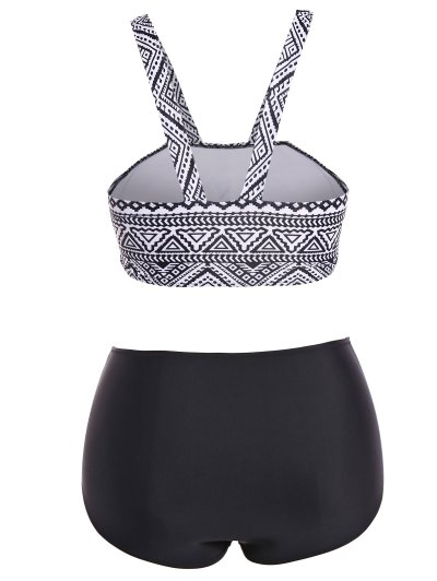 Tribal Print Straps Plus Size Bikini - BLACK XL Mobile