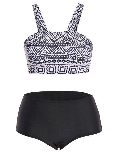 Tribal Print Straps Plus Size Bikini - BLACK L Mobile