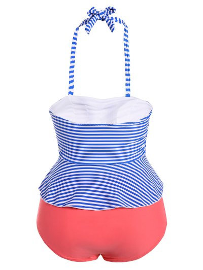 Halter Stripes Plus Size Swimwear - STRIPE S Mobile