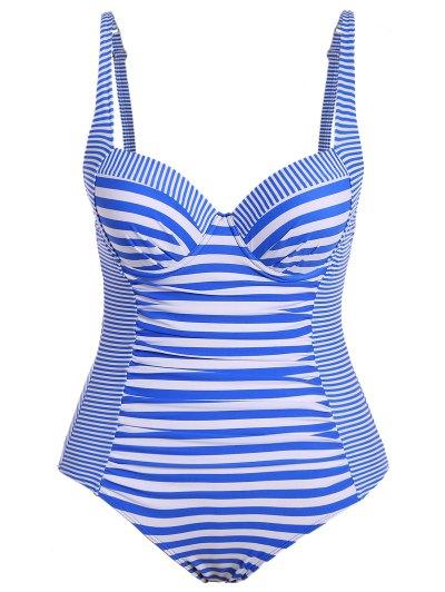 Stripes Spaghetti Straps Plus Size Swimsuit - STRIPE 2XL Mobile