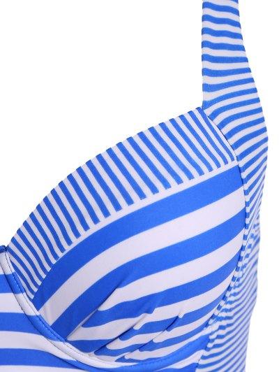 Stripes Spaghetti Straps Plus Size Swimsuit - STRIPE XL Mobile