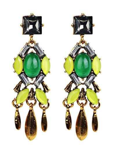 Geometric Faux Emerald Tassel Drop Earrings - YELLOW  Mobile