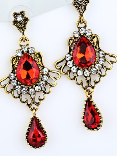Scallop Water Drop Faux Crystal Earrings - GOLDEN  Mobile