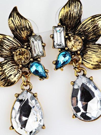 Water Drop Fake Crystal Petals Earrings - GOLDEN  Mobile