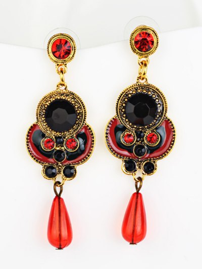 Rhinestone Faux Gem Bead Drop Earrings - RED  Mobile