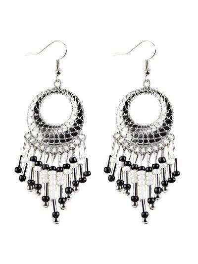 Beads Tassel Snakeskin Circle Drop Earrings - BLACK  Mobile