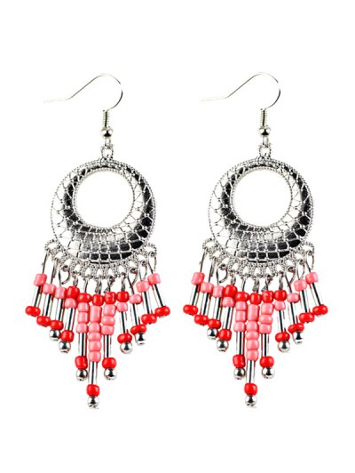 Beads Tassel Snakeskin Circle Drop Earrings - RED  Mobile