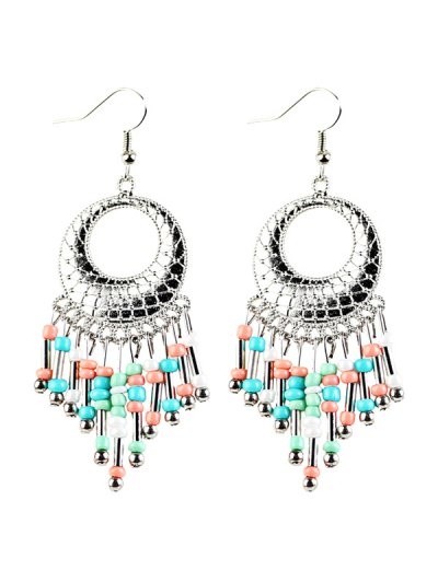 Beads Tassel Snakeskin Circle Drop Earrings - COLORFUL  Mobile