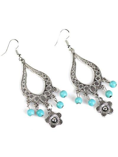Bead Flower Hollowed Water Drop Earrings - SILVER  Mobile